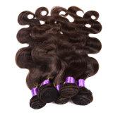 fechamento peruano não processado da onda do corpo 8A 3 pacotes do cabelo peruano do Virgin com trama peruana do cabelo humano do fechamento do laço com fechamento