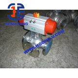 Robinet à tournant sphérique pneumatique à trois voies d'acier inoxydable de dispositif d'entraînement de DIN/API