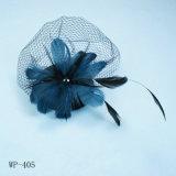 Chapeau bleu de plume, peigne de mode de maille (WP-405)