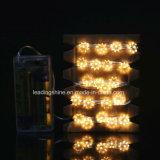 Luz de prata da corda do fio do diodo emissor de luz da forma a pilhas da estrela do anis para o festival Decoraction