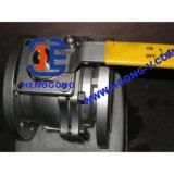 Válvula de esfera pneumática da flange do aço 2PC inoxidável de DIN/API