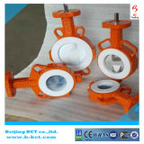 Válvula de borboleta alinhada PTFE Wth da anticorrosão do corpo do ferro de molde pneumático em China Bct-F4pbfv-1