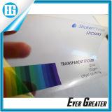 Impression claire faite sur commande imperméable à l'eau adhésive transparente d'étiquette de collant