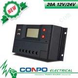 20A, 12V/24V, USB, affissione a cristalli liquidi, regolatore solare di PWM