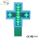 Cruz de la farmacia de la publicidad al aire libre LED de la temperatura de la fecha del tiempo