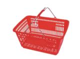 Paniers à provisions en plastique de roulement de supermarché en gros avec les roues 09064