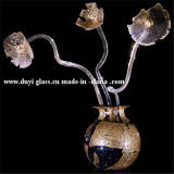 Florero de cristal de Murano de la plata única del diseño para la decoración casera