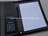 Engraved nero Leather Portfolio con Metal Plate