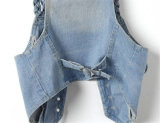 OEM/ODM Women Denim Vest con Silver Buttons