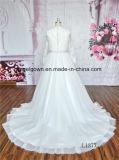 Vestido de casamento longo do laço do baile de finalistas da luva