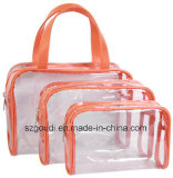PVC libero Waterproof Travel Toiletry Cosmetic Bag Sets con Handle