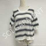 Chemise tricotée par piste noire de dames/blanche occasionnelle classique (SOI1687)