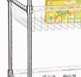 2つのバスケット3層ワイヤー棚付けの表示ワイヤーカート