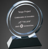 Трофей пожалования кристаллический стекла для подарка сувенира с изготовленный на заказ логосом