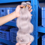 Nenhum cabelo cinzento brasileiro de Remy da onda do corpo da cor da prata do cheiro ruim