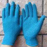 Guante del trabajo del trabajo de 10 del calibrador del poliester de los guantes del apretón guantes del látex