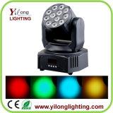 luz de Natal movente do diodo emissor de luz da cabeça da lavagem de 12X3w RGBW