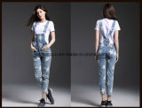 Alta qualidade Classic Printing Denim Ladies Jeans Overall Women Pants