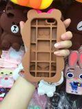 Caja caliente del silicón de la hermana del oso de Brown de la historieta 3D para iPhone6