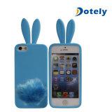 Kaninchen mit Pelzendstück-Silikon-Kasten-Deckel-nettem reizendem langem Ohr-Entwurf