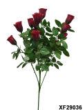 Solo vástago de la flor artificial/plástica/de seda del capullo de rosa con 6 ramificaciones (XF29036)