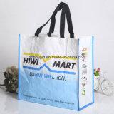 美しい薄板にされたPPによって編まれる手のショッピング・バッグ