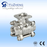 3 parti Threaded Ball Valve con l'iso Pad