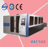 tagliatrice del laser della fibra del piatto del acciaio al carbonio dell'acciaio inossidabile di GS di 1000W Wuhan Han da vendere