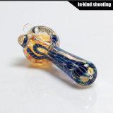 La mano de cristal del tabaco del nuevo de la llegada que fuma de la mano del tubo tazón de fuente de cristal de la venta al por mayor transmite el tubo de la cuchara