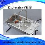 Dissipador de cozinha do aço inoxidável de 3Sudeste Asiático da exportação com Drainboard