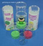 Boîte en plastique ronde de cylindre avec l'impression (HH397)