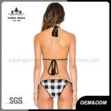 Damenjustierbarer Halter-Gleichheit-zurück Plaid-Mikro-Bikini