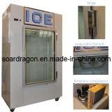 Крытый положенный в мешки вентиляторной системой охлаждения бункер льда с стеклянной дверью