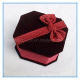 Rectángulo caliente del anillo de la joyería del cuadrado del Bowknot del terciopelo del alto grado de la venta