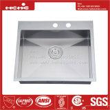 Edelstahl-Oberseite-Montierungs-einzelne Filterglocke-handgemachte Küche-Wanne des Zoll-25X20