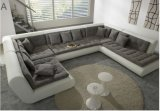 Sofá do couro genuíno da forma de U para a sala de visitas (SF069)