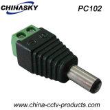 CCTVのねじ込み端子(PC102)が付いている男性のDC電源のコネクター