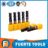 Lâmina do moinho de extremidade do carboneto de tungstênio de quatro flautas para o processamento do metal