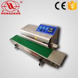 Máquina de embalagem contínua automática para petiscos com inflação de gás vertical e horizontal da cópia da roda da tinta do codificador da tâmara da selagem