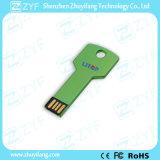 Disco de alumínio do USB da chave do metal verde impermeável com logotipo (ZYF1731)