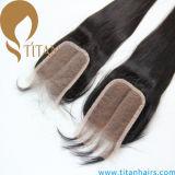 Jungfrau-brasilianisches gerades Menschenhaar-Schliessen-Haar-Stück 100%