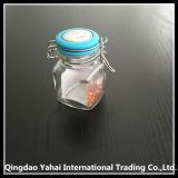 tarro de cristal del almacenaje 100ml con la tapa azul del clip