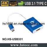 Tipo macho do USB 3.1 de C ao cabo fêmea do conetor do adaptador de HDMI
