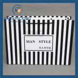 Fashion Clothing (CMG-MAY-044)를 위한 까만 Stripes Paper Bag