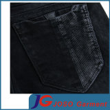 Fitted preto Jeans magro com Slant Pocket (JC3401)