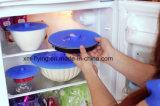 Jogo de 5 tamanhos dos ajustes das tampas do alimento da sução do silicone vários dos copos, bacias, bandejas