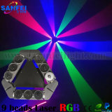 Profesionales 9 cabezas verdes Matriz principal móvil de la araña rayo láser de luz