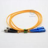 Cordon de connexion recto entièrement stocké de fibre optique de Sc LC MU E2000 de FC de rue