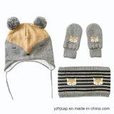 자카드 직물 모자 베레모 모자 두개골 모자에 의하여 뜨개질을 하는 모자