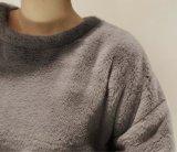 Einfache Großhandelsdame Pullover Hoodie Dress, Fußleiste mit Flaum/Reißverschluss